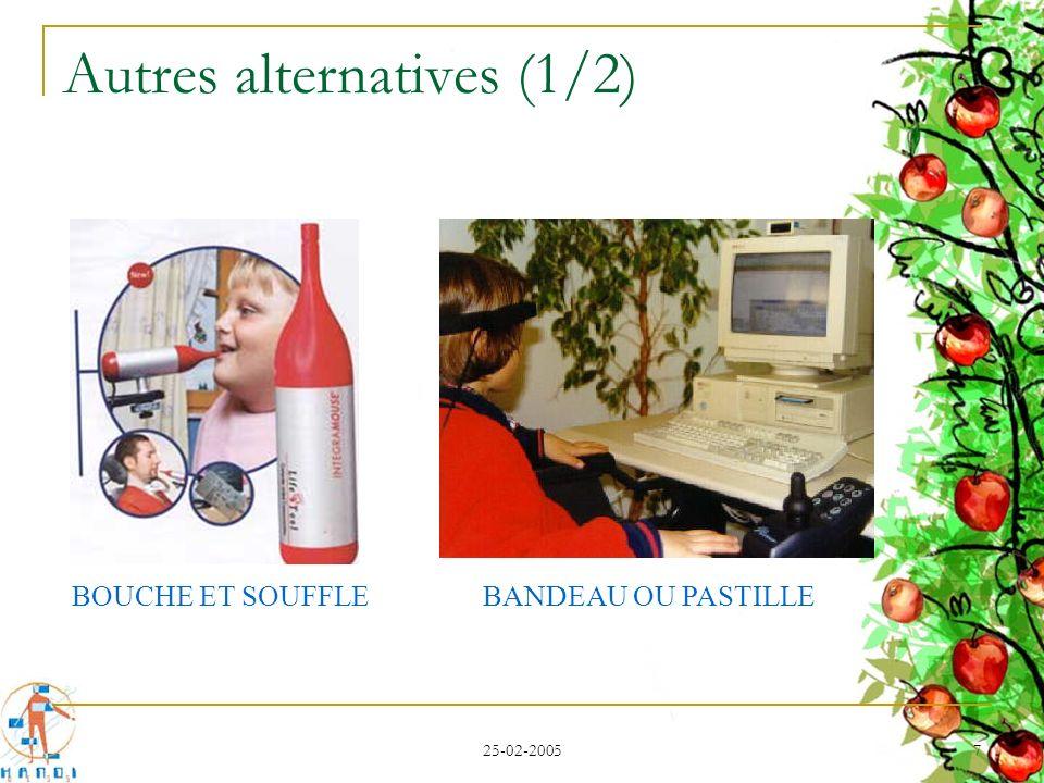 25-02-2005 8 Autres alternatives (2/2) Une caméra pour la tête Une caméra pour lœil Déplacement du curseur à l aide du regard Clic déclenché par une fixation prolongée ou par un clignement