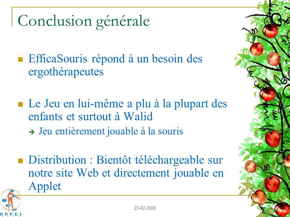 25-02-2005 74 Conclusion générale EfficaSouris répond à un besoin des ergothérapeutes Le Jeu en lui-même a plu à la plupart des enfants et surtout à W