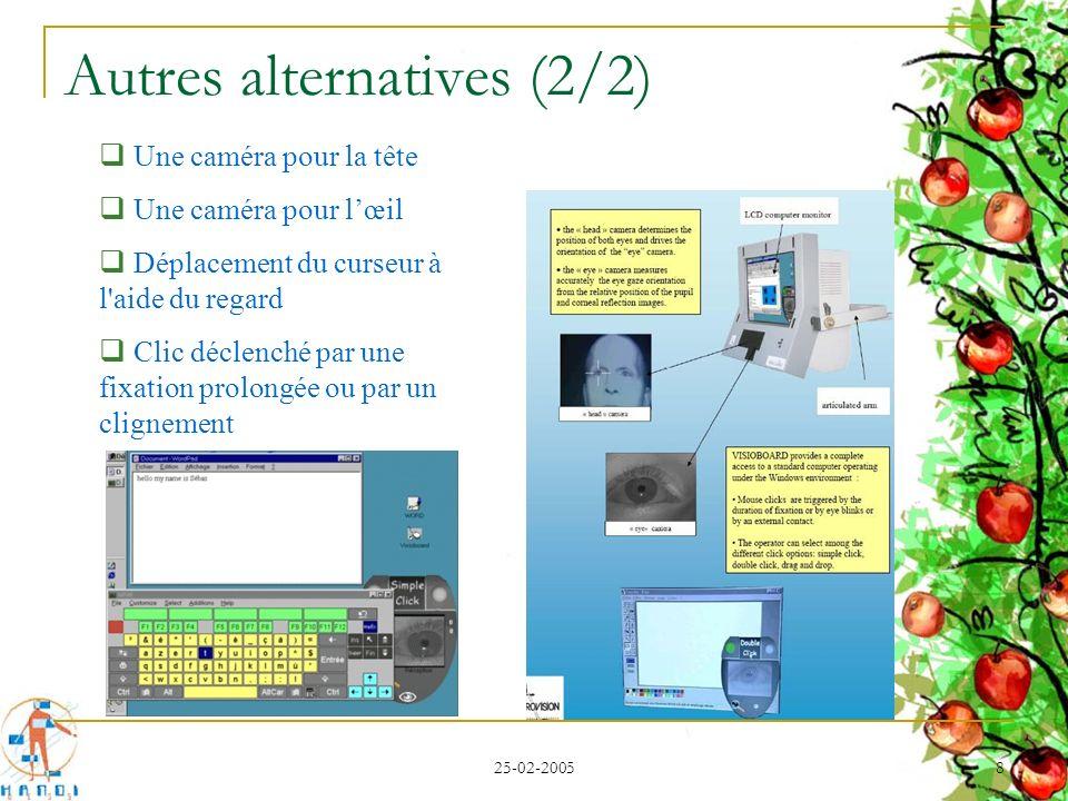 25-02-2005 8 Autres alternatives (2/2) Une caméra pour la tête Une caméra pour lœil Déplacement du curseur à l'aide du regard Clic déclenché par une f