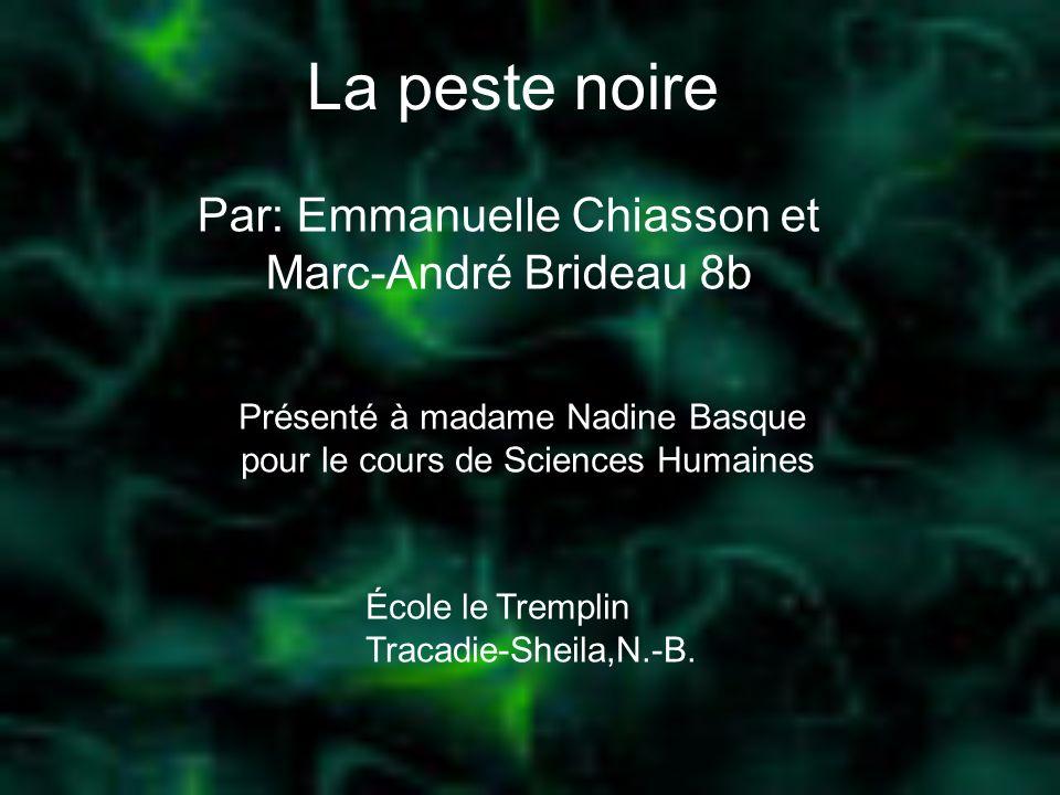 La peste noire Par: Emmanuelle Chiasson et Marc-André Brideau 8b Présenté à madame Nadine Basque pour le cours de Sciences Humaines École le Tremplin