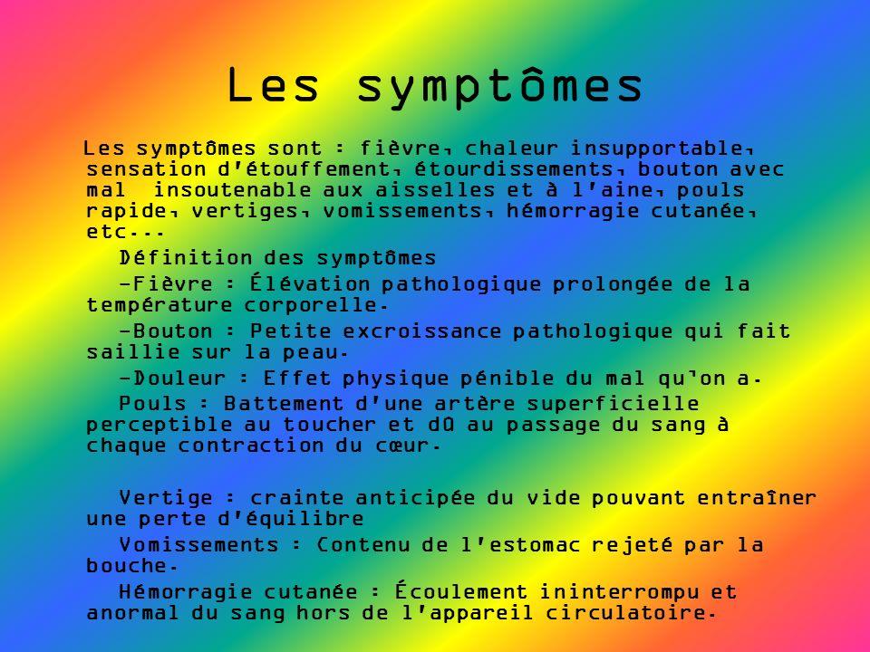 L es symptômes sont : fièvre, chaleur insupportable, sensation d'étouffement, étourdissements, bouton avec mal insoutenable aux aisselles et à l'aine,
