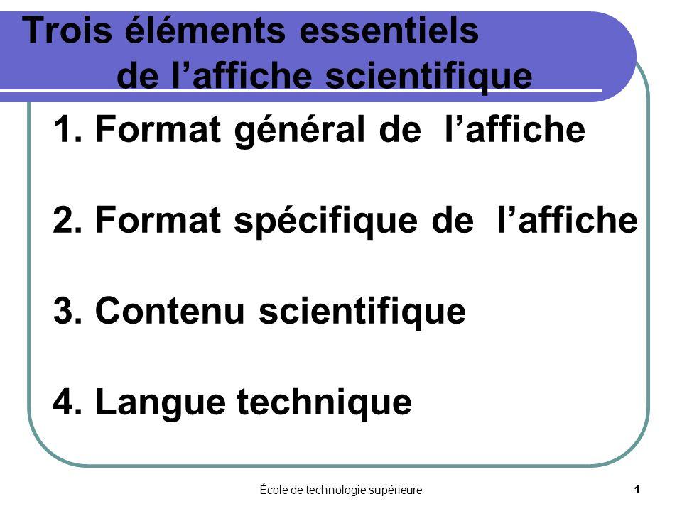 École de technologie supérieure 1 Trois éléments essentiels de laffiche scientifique 1. Format général de laffiche 2. Format spécifique de laffiche 3.