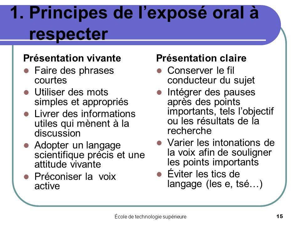 École de technologie supérieure 15 1. Principes de lexposé oral à respecter Présentation vivante Faire des phrases courtes Utiliser des mots simples e
