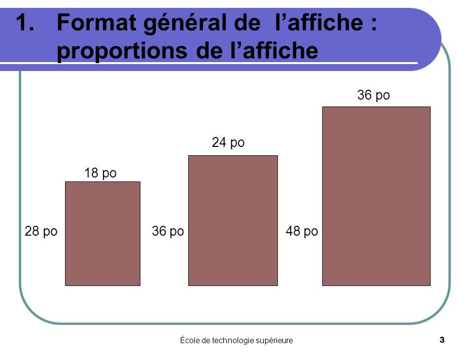 École de technologie supérieure 3 1.Format général de laffiche : proportions de laffiche 36 po 24 po 18 po 28 po 36 po 48 po