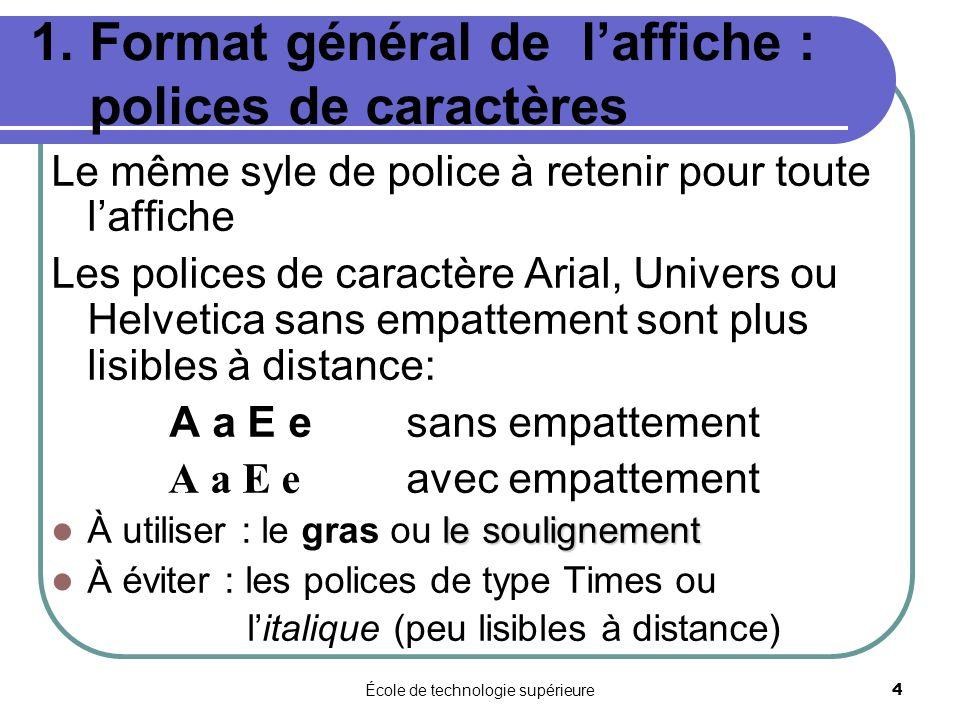 École de technologie supérieure 4 1. Format général de laffiche : polices de caractères Le même syle de police à retenir pour toute laffiche Les polic