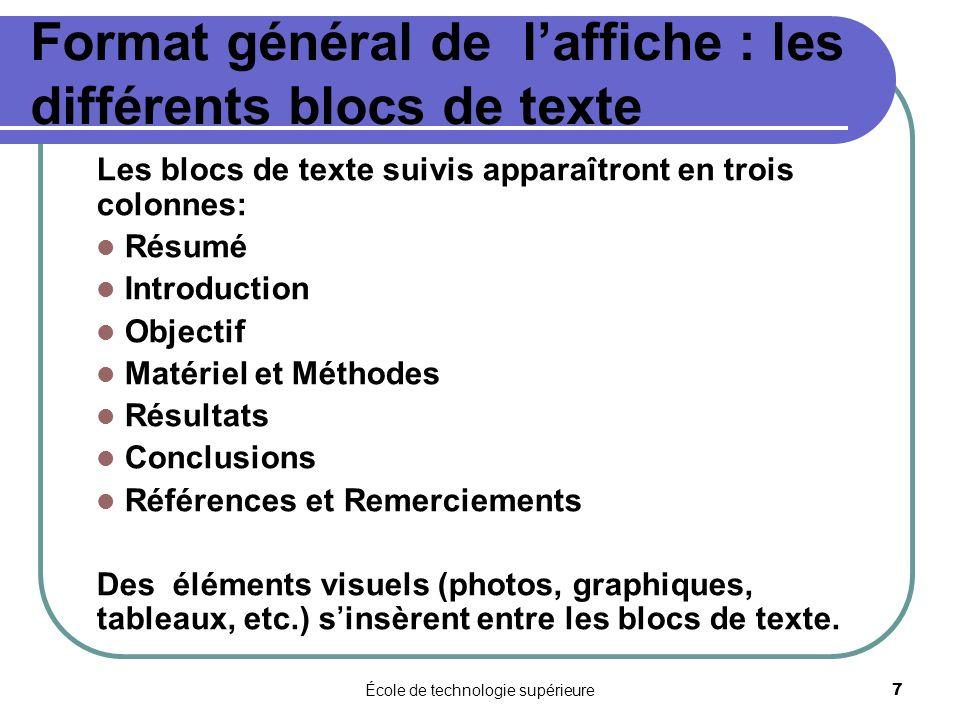 École de technologie supérieure 7 Format général de laffiche : les différents blocs de texte Les blocs de texte suivis apparaîtront en trois colonnes: