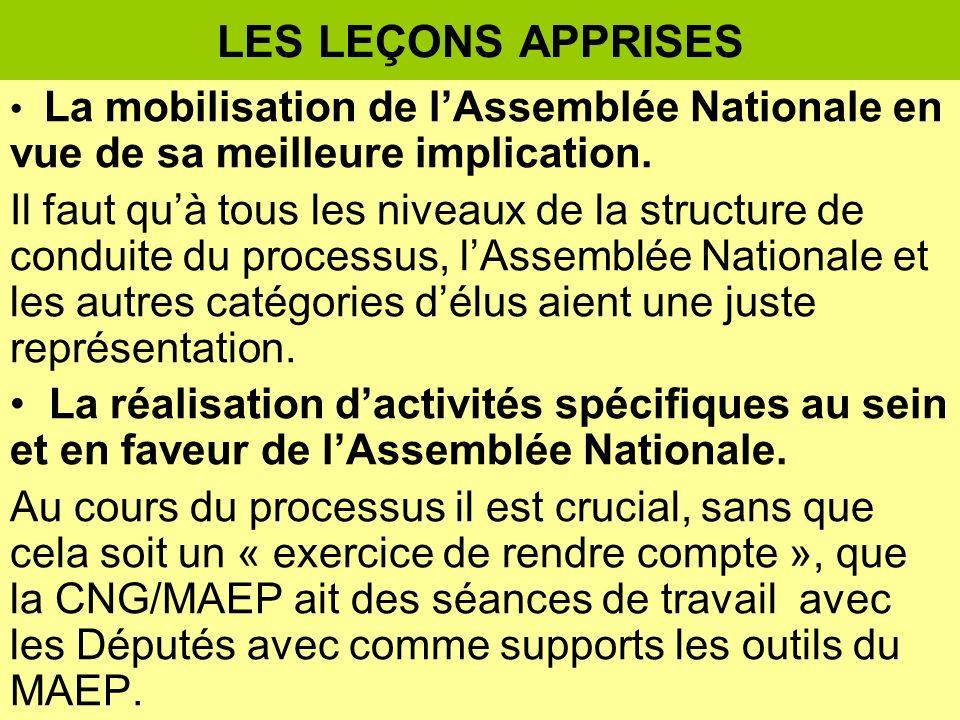 LES LEÇONS APPRISES La mobilisation de lAssemblée Nationale en vue de sa meilleure implication.