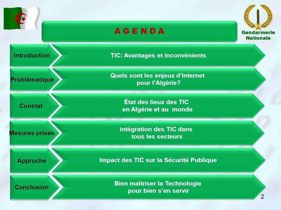 Introduction Constat Mesures prises Approche Conclusion Problématique intégration des TIC dans tous les secteurs Depuis louverture du secteur des Télécommunications en 2000, lactif national en matière des TIC ne cesse de saccroitre: 03 Opérateurs GSM, 03 opérateurs VSAT, 25 FAI…) Des projets ambitieux ont été lancés, dont certain ont déjà donné leur fruits: e-Algérie 2013, Cyberparc de sidi Abdallah; Tarbiatic, Cyber-rif, E-commerce; E-gouvernement, ladministration électronique (e- justice, e-éducation…).