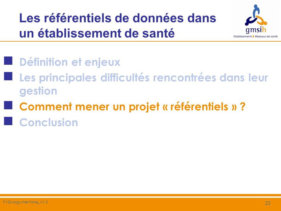 P132-argumentaire_V1.0 25 Les référentiels de données dans un établissement de santé Définition et enjeux Les principales difficultés rencontrées dans
