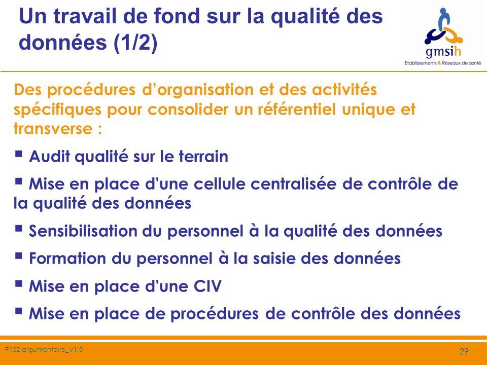 P132-argumentaire_V1.0 29 Un travail de fond sur la qualité des données (1/2) Des procédures dorganisation et des activités spécifiques pour consolide