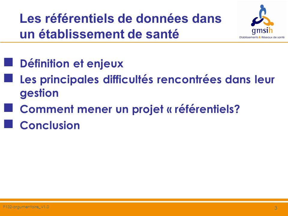 P132-argumentaire_V1.0 4 Les référentiels de données dans un établissement de santé Définition et enjeux Les principales difficultés rencontrées dans leur gestion Comment mener un projet « référentiels » .