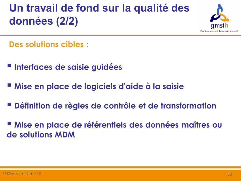 P132-argumentaire_V1.0 30 Un travail de fond sur la qualité des données (2/2) Des solutions cibles : Interfaces de saisie guidées Mise en place de log