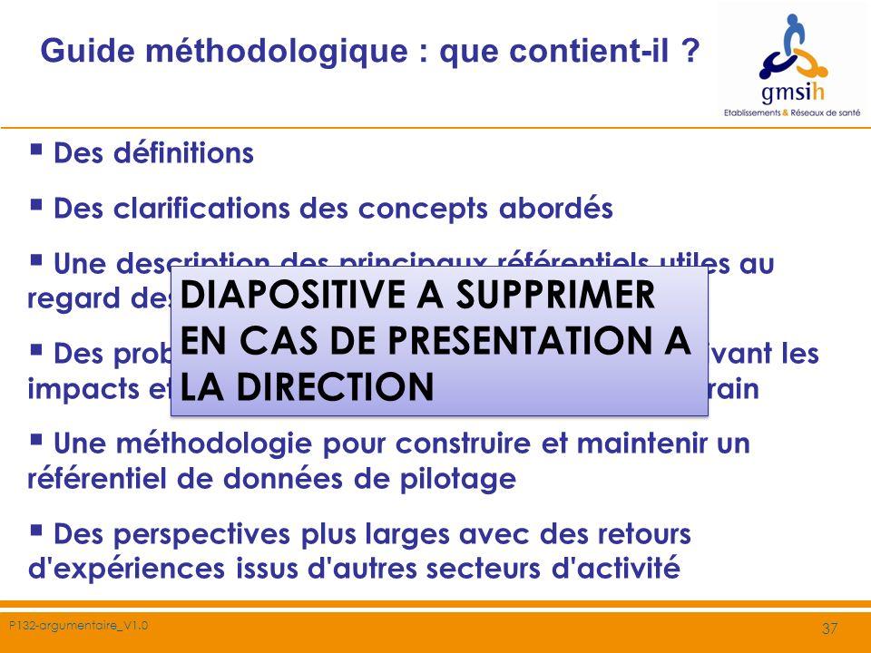P132-argumentaire_V1.0 37 Guide méthodologique : que contient-il ? Des définitions Des clarifications des concepts abordés Une description des princip