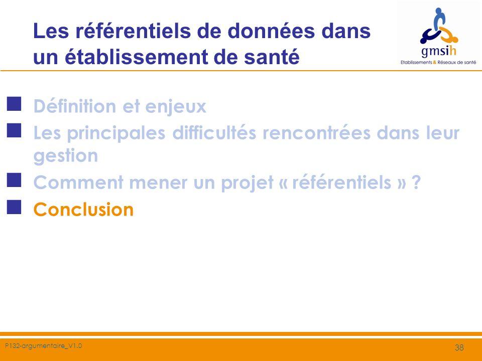 P132-argumentaire_V1.0 38 Les référentiels de données dans un établissement de santé Définition et enjeux Les principales difficultés rencontrées dans