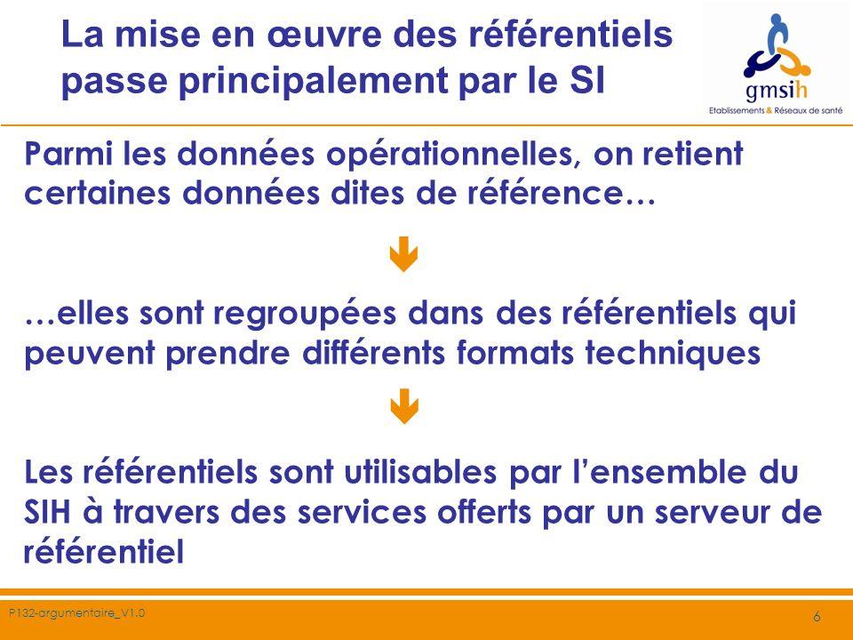 P132-argumentaire_V1.0 6 La mise en œuvre des référentiels passe principalement par le SI Parmi les données opérationnelles, on retient certaines donn