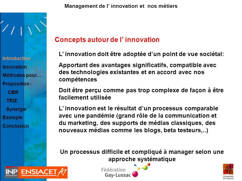 Concepts autour de l innovation L innovation doit être adoptée dun point de vue sociétal: Apportant des avantages significatifs, compatible avec des t