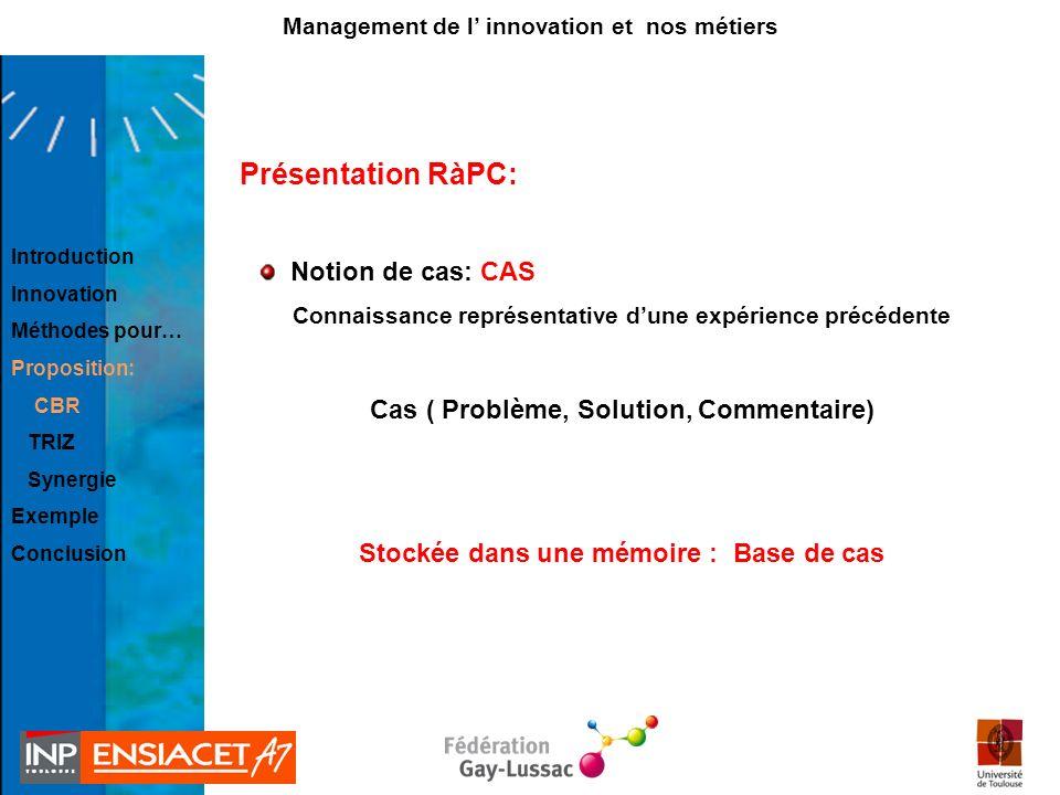 Présentation RàPC: Notion de cas: CAS Connaissance représentative dune expérience précédente Cas ( Problème, Solution, Commentaire) Stockée dans une m