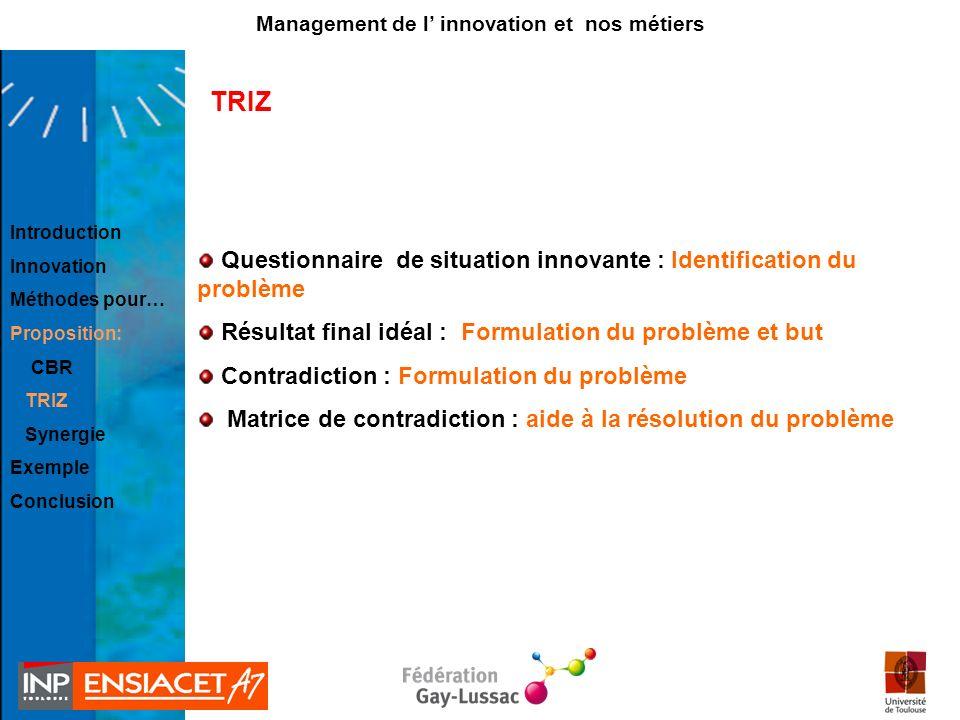TRIZ Questionnaire de situation innovante : Identification du problème Résultat final idéal : Formulation du problème et but Contradiction : Formulati