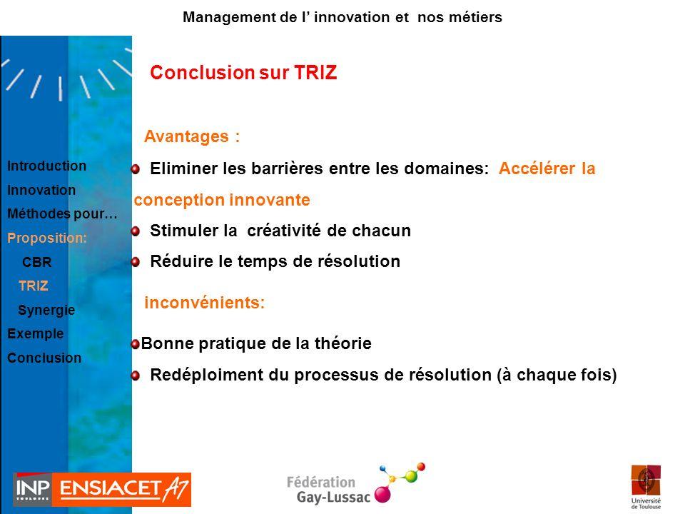 Conclusion sur TRIZ Eliminer les barrières entre les domaines: Accélérer la conception innovante Stimuler la créativité de chacun Réduire le temps de