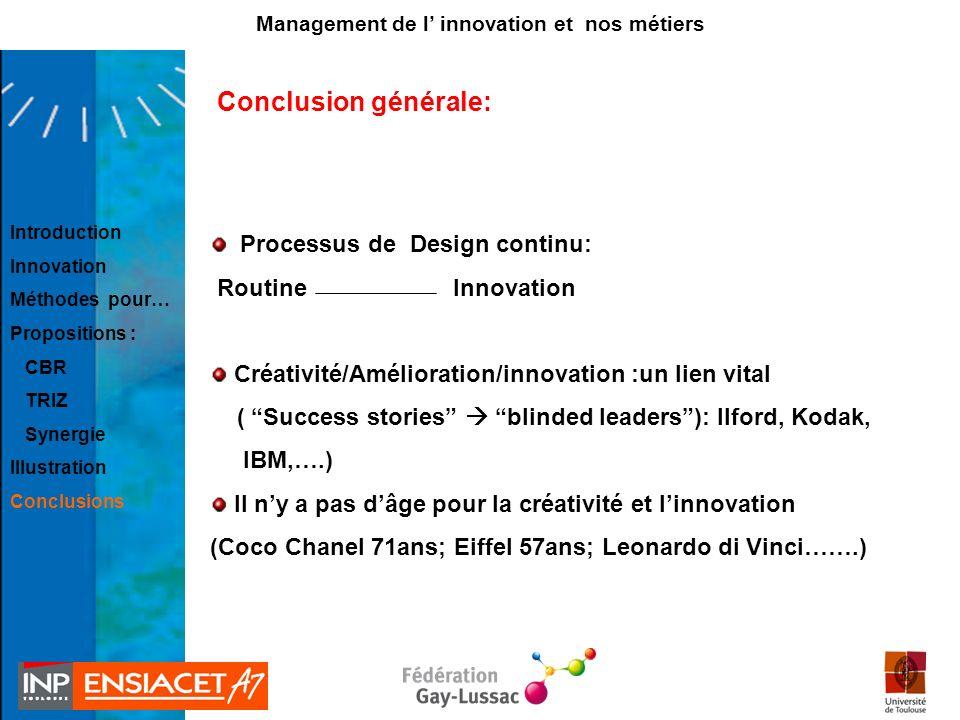 Conclusion générale: Processus de Design continu: Routine Innovation Créativité/Amélioration/innovation :un lien vital ( Success stories blinded leade
