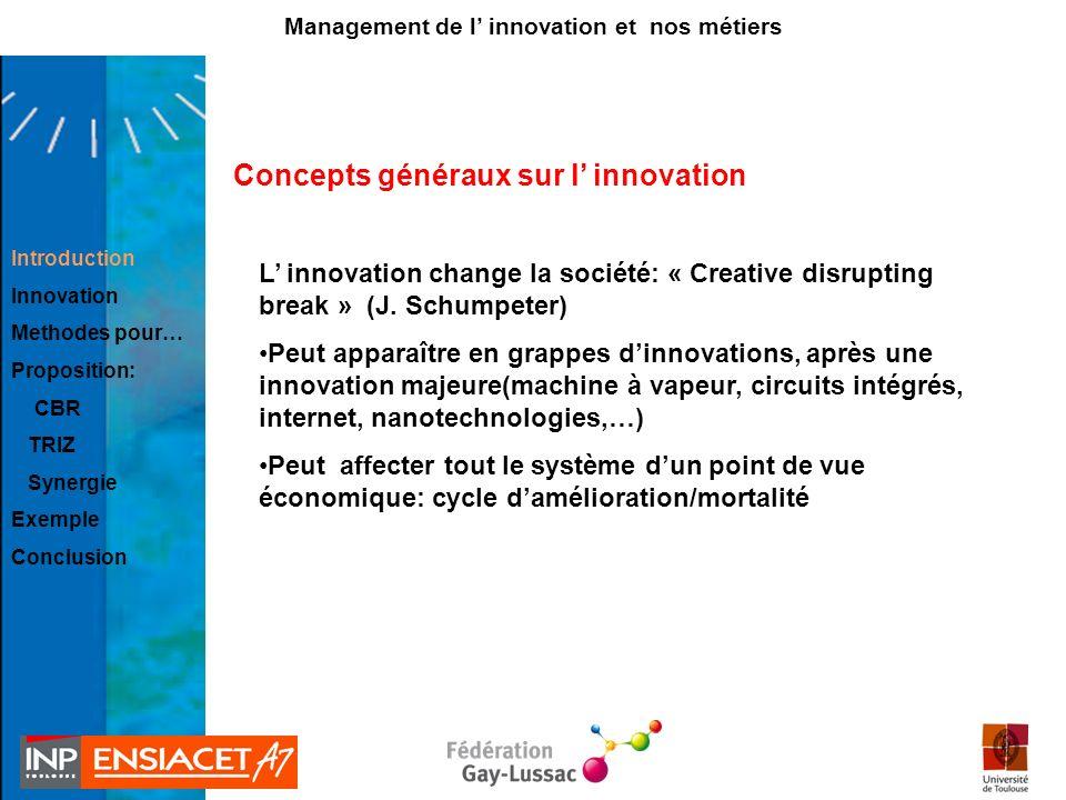 Concepts généraux sur l innovation L innovation change la société: « Creative disrupting break » (J. Schumpeter) Peut apparaître en grappes dinnovatio