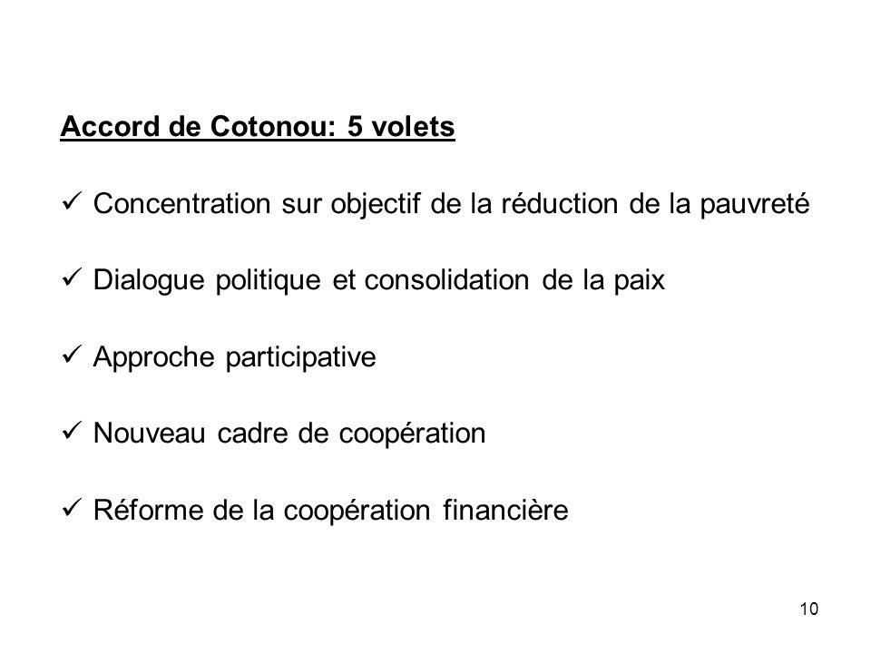 10 Accord de Cotonou: 5 volets Concentration sur objectif de la réduction de la pauvreté Dialogue politique et consolidation de la paix Approche parti