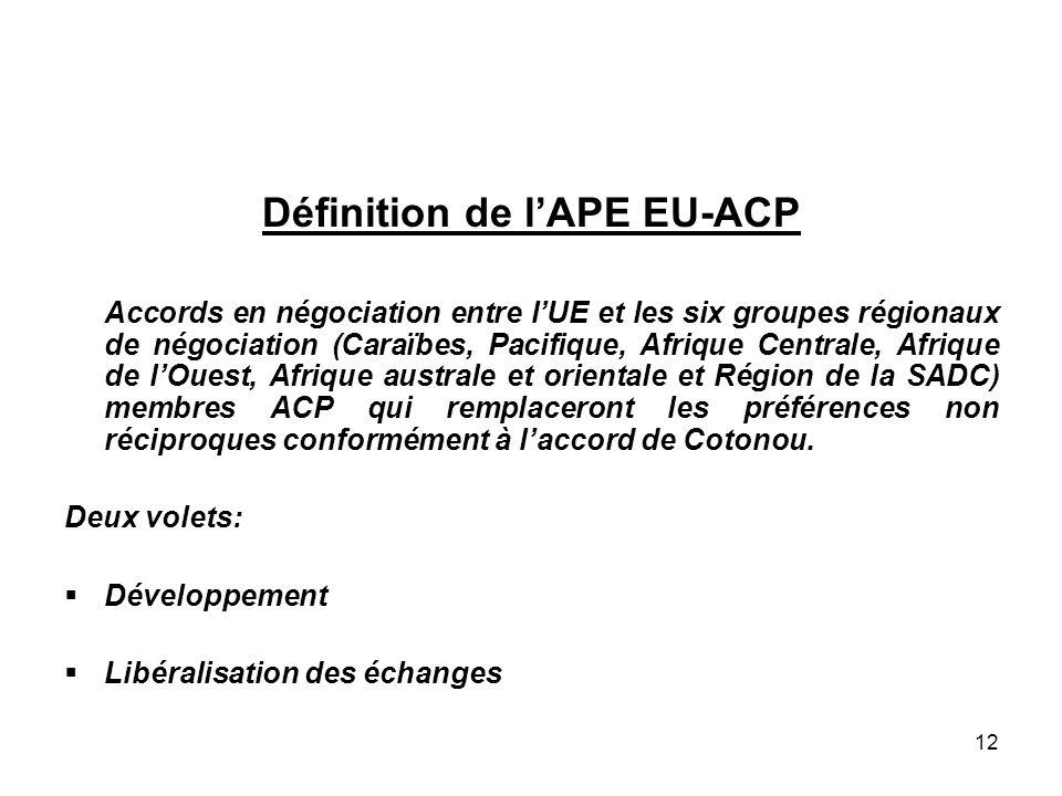 12 Définition de lAPE EU-ACP Accords en négociation entre lUE et les six groupes régionaux de négociation (Caraïbes, Pacifique, Afrique Centrale, Afri