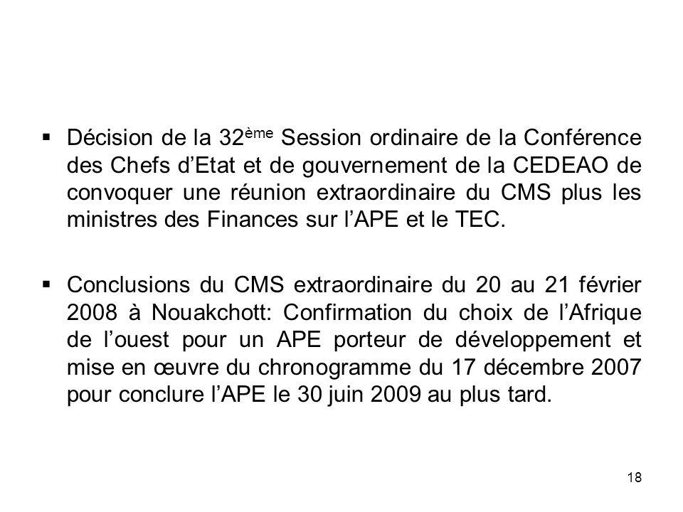 18 Décision de la 32 ème Session ordinaire de la Conférence des Chefs dEtat et de gouvernement de la CEDEAO de convoquer une réunion extraordinaire du