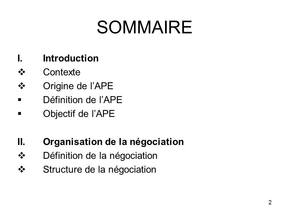 2 SOMMAIRE I.Introduction Contexte Origine de lAPE Définition de lAPE Objectif de lAPE II.Organisation de la négociation Définition de la négociation