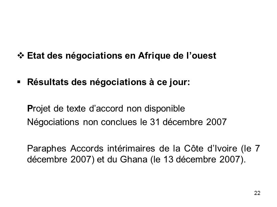 22 Etat des négociations en Afrique de louest Résultats des négociations à ce jour: Projet de texte daccord non disponible Négociations non conclues l