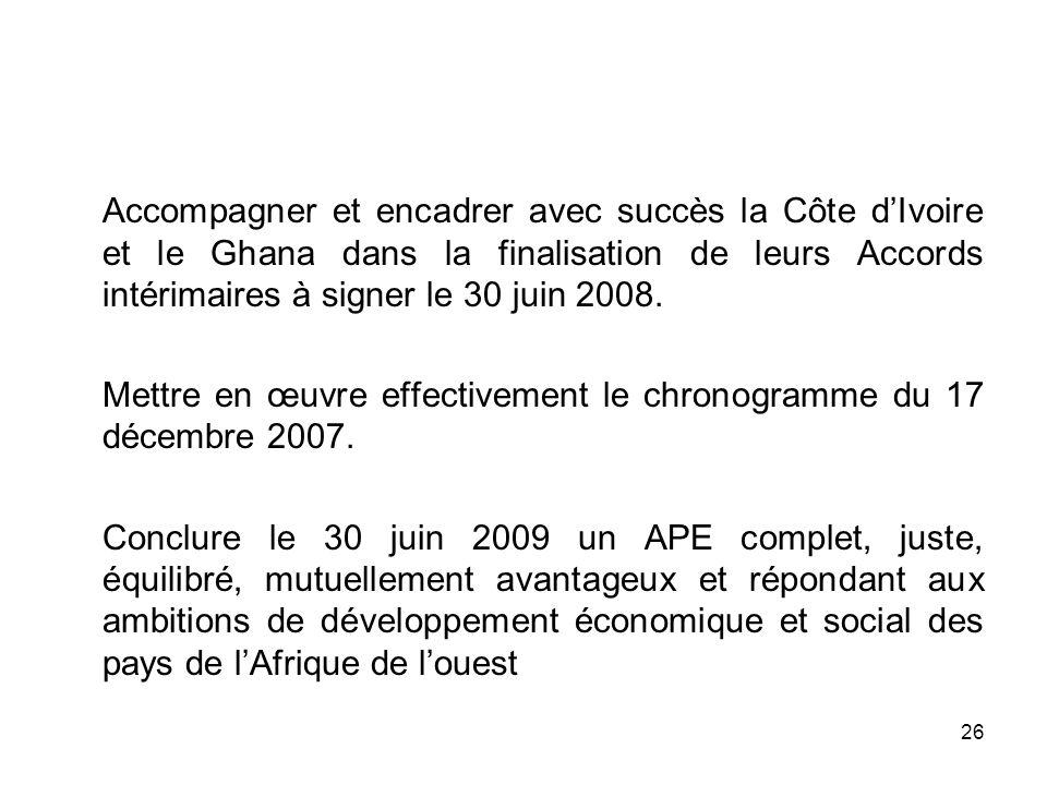 26 Accompagner et encadrer avec succès la Côte dIvoire et le Ghana dans la finalisation de leurs Accords intérimaires à signer le 30 juin 2008. Mettre
