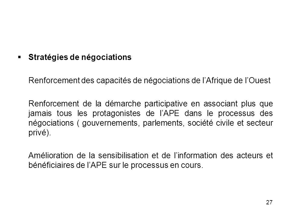 27 Stratégies de négociations Renforcement des capacités de négociations de lAfrique de lOuest Renforcement de la démarche participative en associant