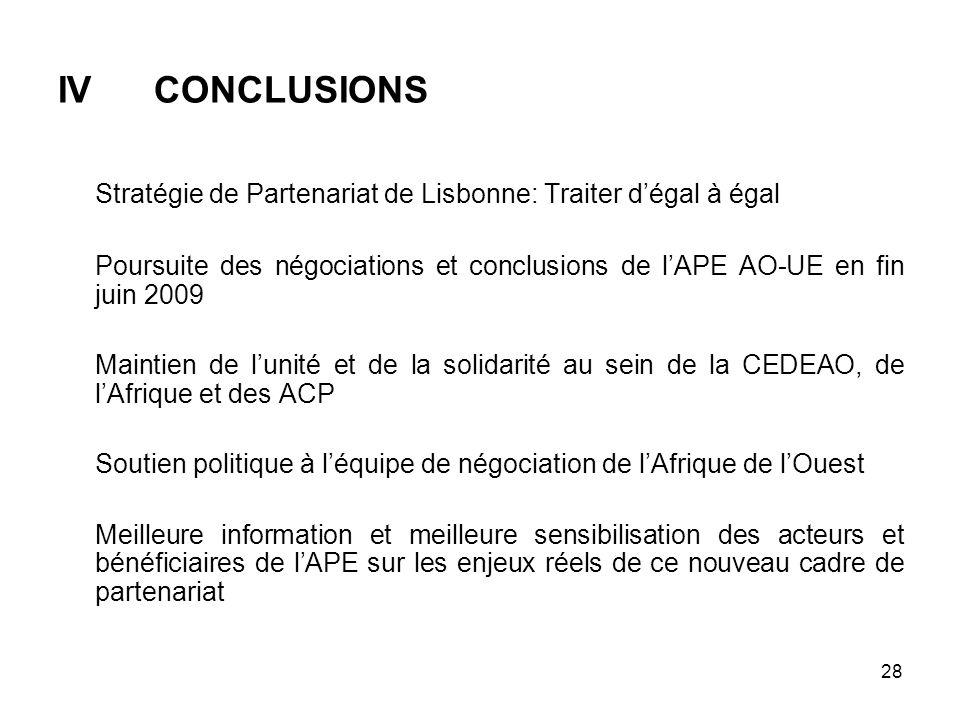 28 IVCONCLUSIONS Stratégie de Partenariat de Lisbonne: Traiter dégal à égal Poursuite des négociations et conclusions de lAPE AO-UE en fin juin 2009 M