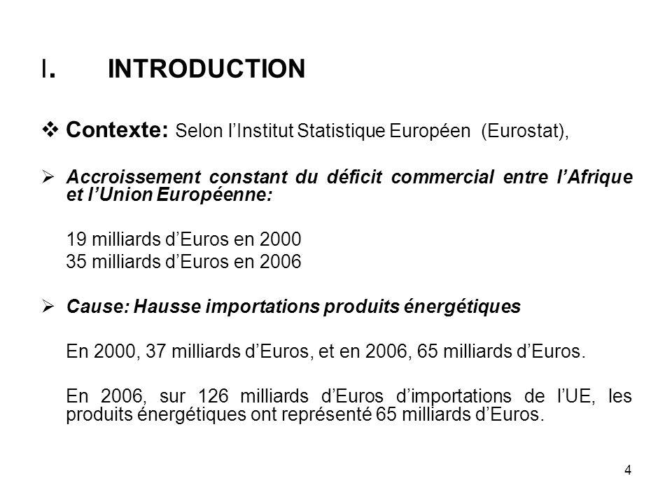 4 I. INTRODUCTION Contexte: Selon lInstitut Statistique Européen (Eurostat), Accroissement constant du déficit commercial entre lAfrique et lUnion Eur