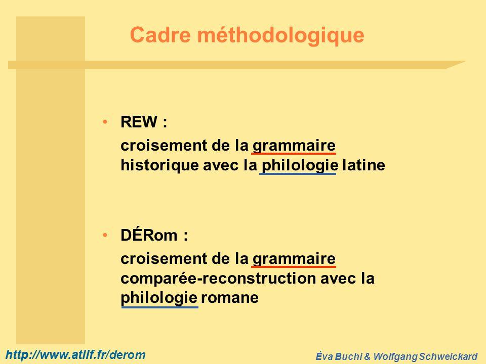 http://www.atilf.fr Éva Buchi & Wolfgang Schweickard http://www.atilf.fr/derom Cadre méthodologique REW : croisement de la grammaire historique avec l