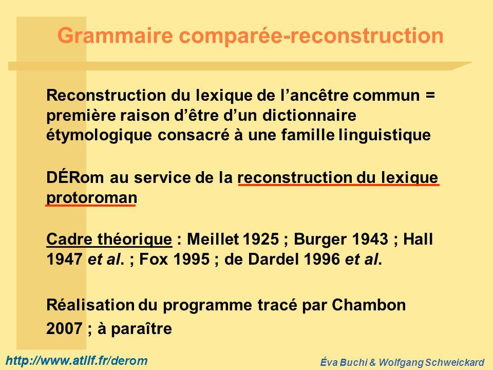 http://www.atilf.fr Éva Buchi & Wolfgang Schweickard http://www.atilf.fr/derom Grammaire comparée-reconstruction Reconstruction du lexique de lancêtre