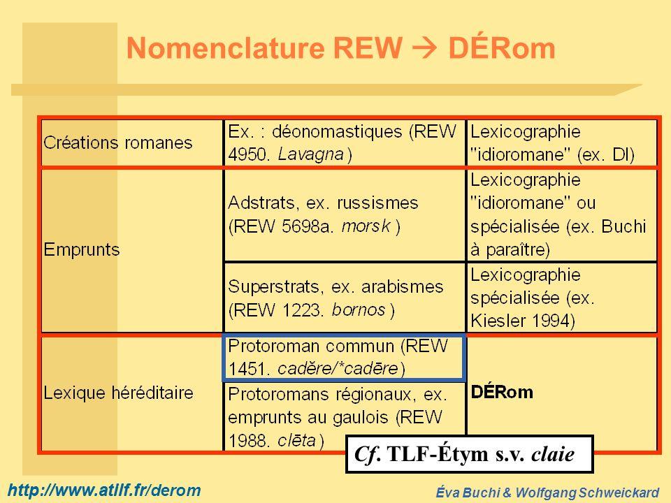http://www.atilf.fr Éva Buchi & Wolfgang Schweickard http://www.atilf.fr/derom Nomenclature REW DÉRom Cf. TLF-Étym s.v. claie