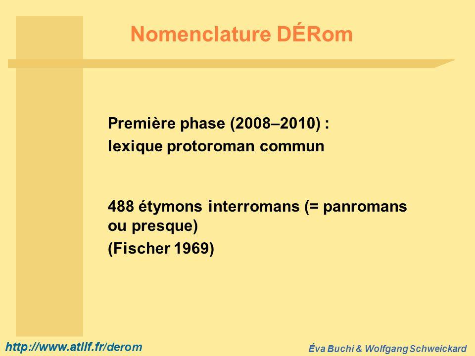 http://www.atilf.fr Éva Buchi & Wolfgang Schweickard http://www.atilf.fr/derom Nomenclature DÉRom Première phase (2008–2010) : lexique protoroman comm