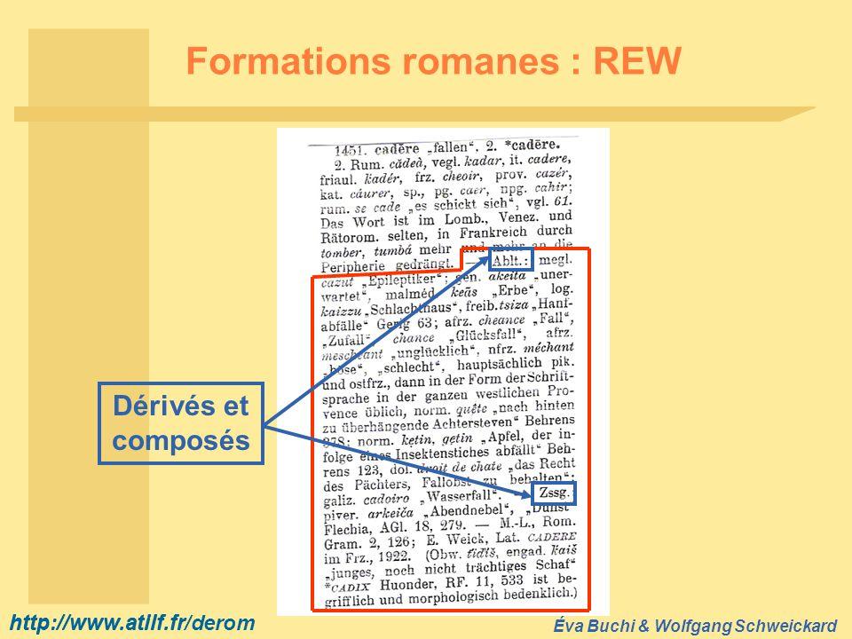 http://www.atilf.fr Éva Buchi & Wolfgang Schweickard http://www.atilf.fr/derom Formations romanes : REW Dérivés et composés