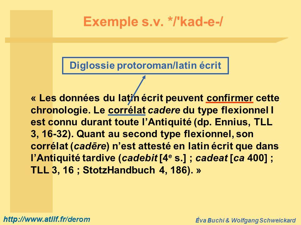 http://www.atilf.fr Éva Buchi & Wolfgang Schweickard http://www.atilf.fr/derom Exemple s.v. */'kad-e-/ « Les données du latin écrit peuvent confirmer