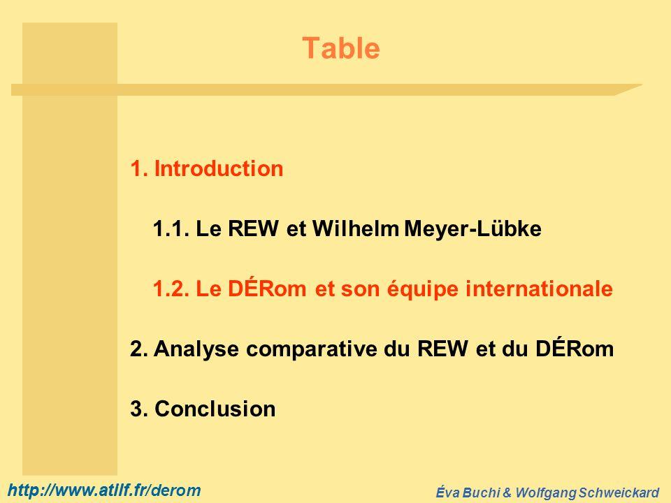 http://www.atilf.fr Éva Buchi & Wolfgang Schweickard http://www.atilf.fr/derom Table 1.