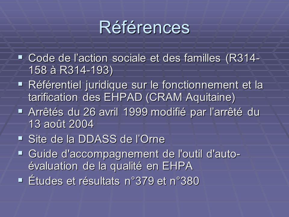 Références Code de laction sociale et des familles (R314- 158 à R314-193) Code de laction sociale et des familles (R314- 158 à R314-193) Référentiel juridique sur le fonctionnement et la tarification des EHPAD (CRAM Aquitaine) Référentiel juridique sur le fonctionnement et la tarification des EHPAD (CRAM Aquitaine) Arrêtés du 26 avril 1999 modifié par larrêté du 13 août 2004 Arrêtés du 26 avril 1999 modifié par larrêté du 13 août 2004 Site de la DDASS de lOrne Site de la DDASS de lOrne Guide d accompagnement de l outil d auto- évaluation de la qualité en EHPA Guide d accompagnement de l outil d auto- évaluation de la qualité en EHPA Études et résultats n°379 et n°380 Études et résultats n°379 et n°380