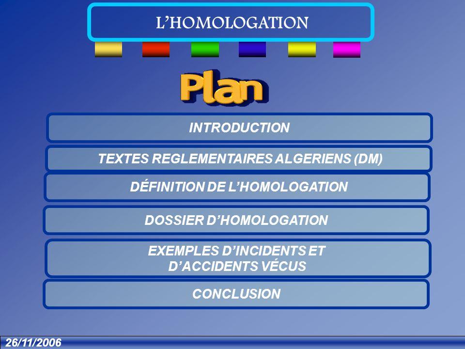 Textes Dossier Introduction Définition Exemple Conclusion LHOMOLOGATION 26/11/2006 Dossier dHomologation Dossier administratif Dossier produit Dossier clinique Homologation