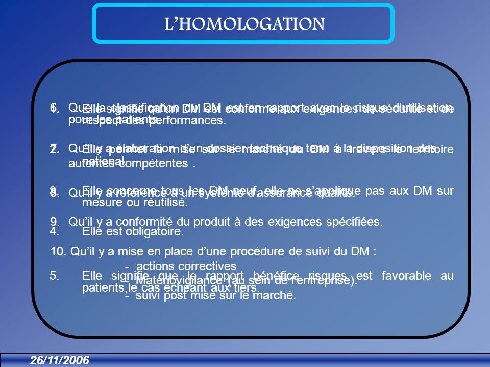 26/11/2006 LHOMOLOGATION 1.Elle signifie quun DM est conforme aux exigences de sécurité et de respect des performances.