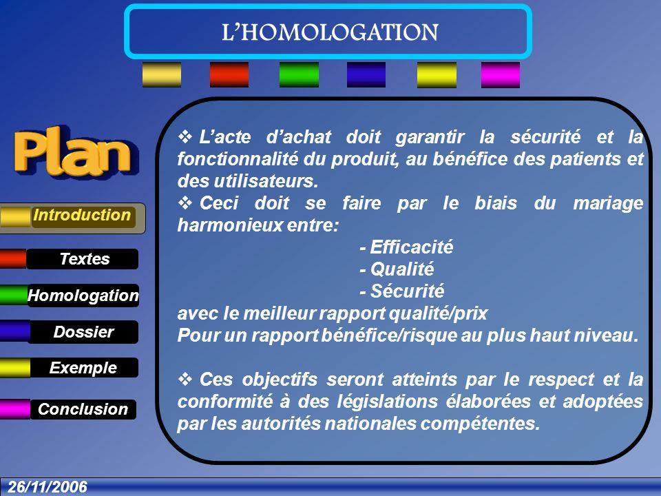 Textes Dossier Introduction Définition Exemple Conclusion LHOMOLOGATION 26/11/2006 Dossier administratif: Demande dHomologation avec définition du produit.