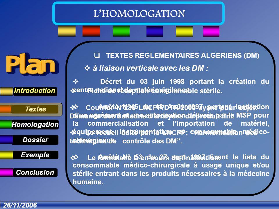 Textes Dossier Introduction Définition Exemple Conclusion LHOMOLOGATION à liaison verticale avec les DM : Décret du 03 juin 1998 portant la création du centre national de matériovigilance.