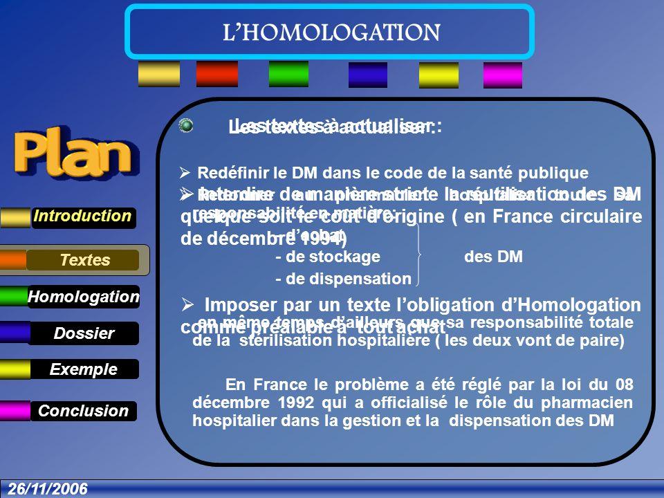 Textes Dossier Introduction Exemple Conclusion LHOMOLOGATION Homologation .