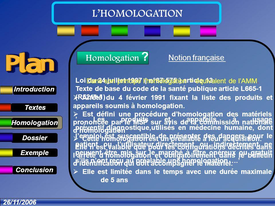 Textes Dossier Introduction Exemple Conclusion LHOMOLOGATION 26/11/2006 Qui Homologue.