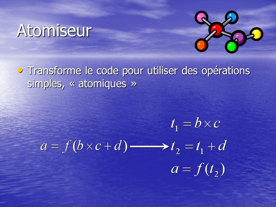 Atomiseur Transforme le code pour utiliser des opérations simples, « atomiques » Transforme le code pour utiliser des opérations simples, « atomiques