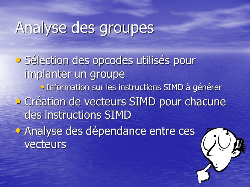 Analyse des groupes Sélection des opcodes utilisés pour implanter un groupe Sélection des opcodes utilisés pour implanter un groupe Information sur le